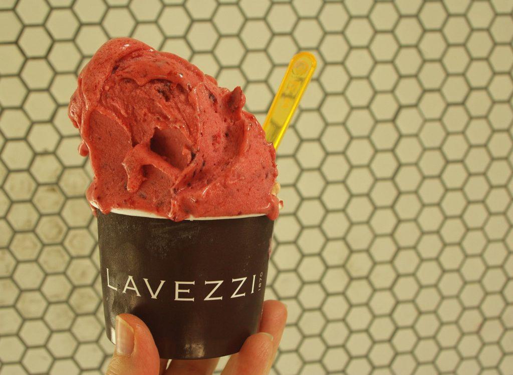 Mixed berry sorbetto from Lavezzi, with hazelnut gelato underneath.
