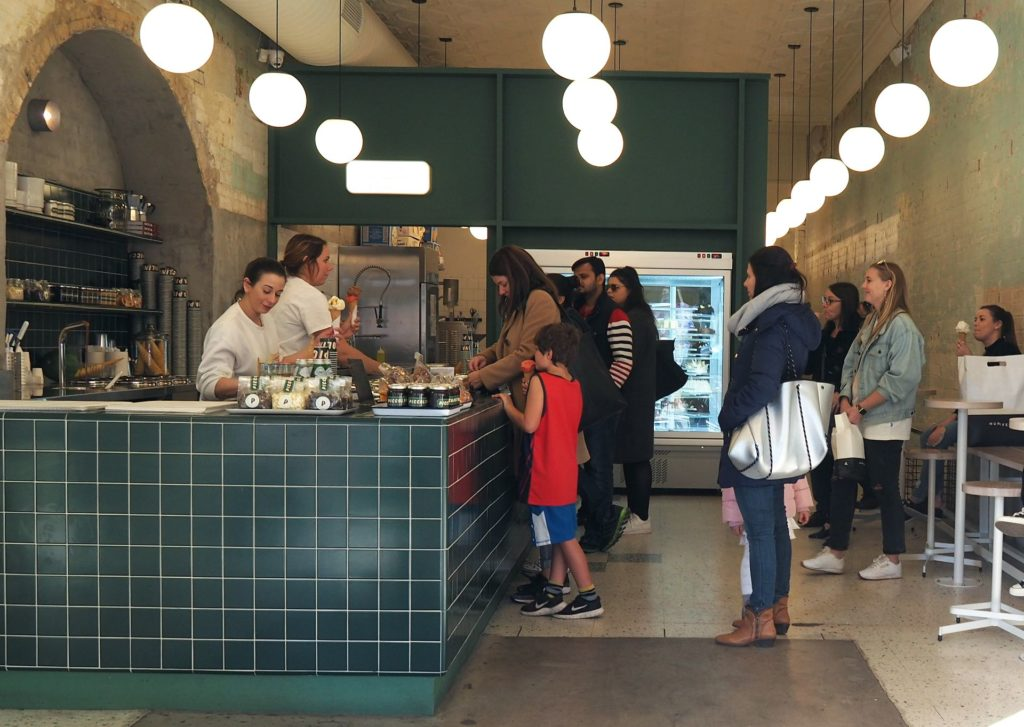 Lining up for gelato at the pozzetti counter at Piccolina.