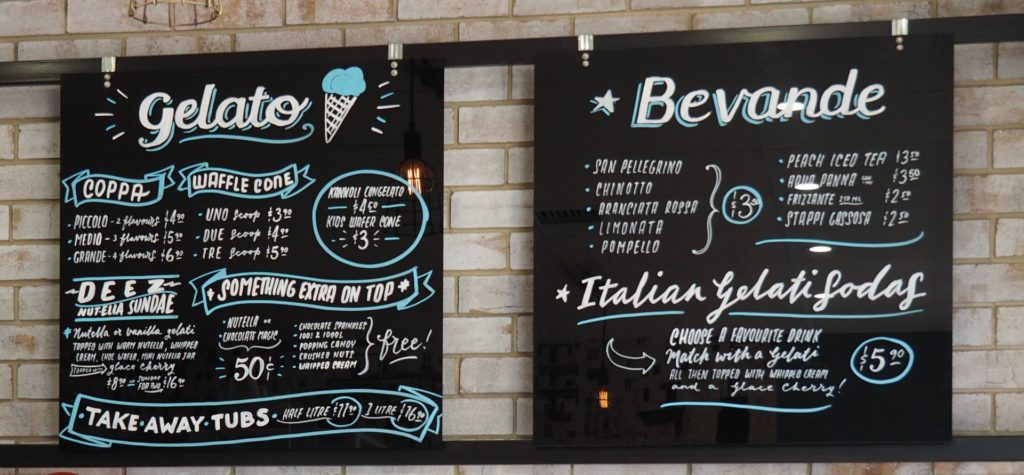The menu at Ecco Gelato.