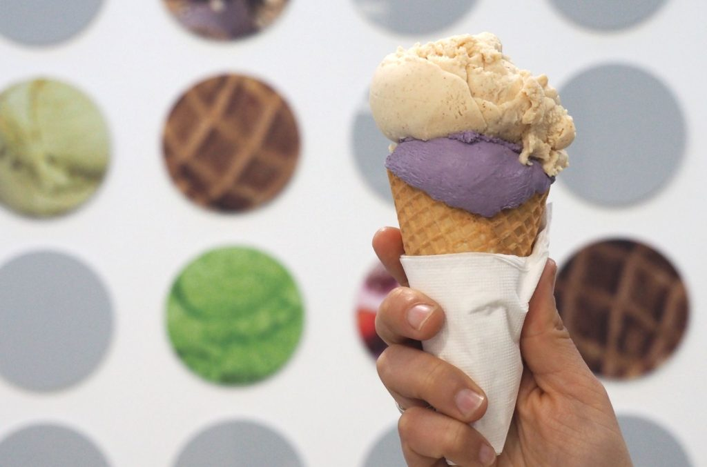 Love the purple colour of the taro and coconut gelato, paired here with roasted almond gelato.