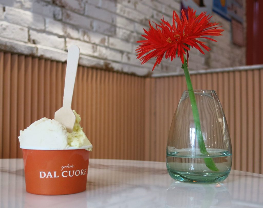 Szechuan pepper gives an extra kick to Gelato Dal Cuore's pineapple gelato. Paired here with Roasted apple gelato.