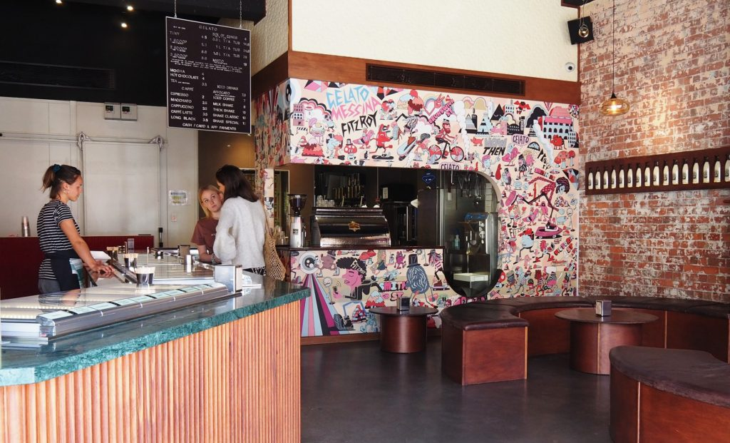 Distressed walls, funky mural, definitely a Fitzroy vibe at Gelato Messina Fitzroy.