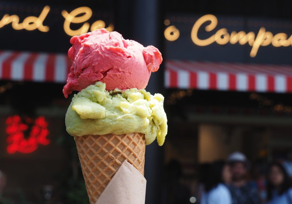 A pair of sorbetti: lime and basil, with raspberry and yuzu from Island Gelato.